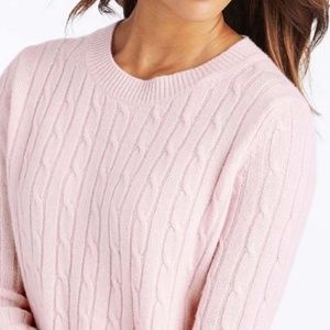 VINEYARD VINES CASHMERE PINK CABLE KNIT SWEATER